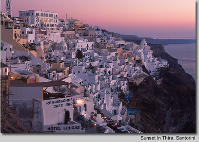 Sunset in Thira, Santorini